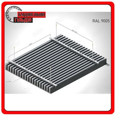Kraft Рейка Куб, RAL 9005 (черный),  м.п.